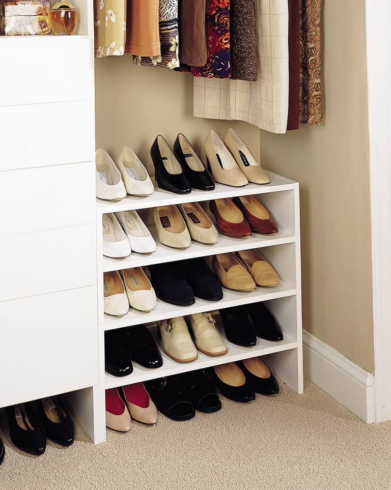 custom shoe rack for closet home design ideas. Black Bedroom Furniture Sets. Home Design Ideas