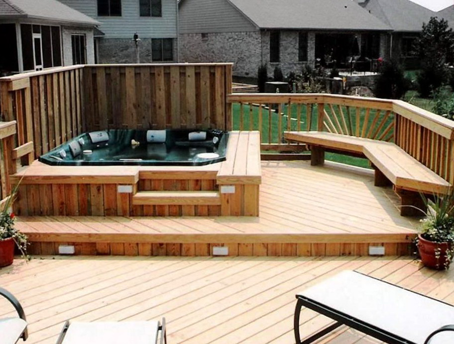Hot tub deck privacy home design ideas for Spa deck design