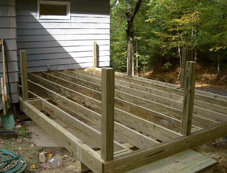 Installing deck railing posts on outside of deck home for How to install decking