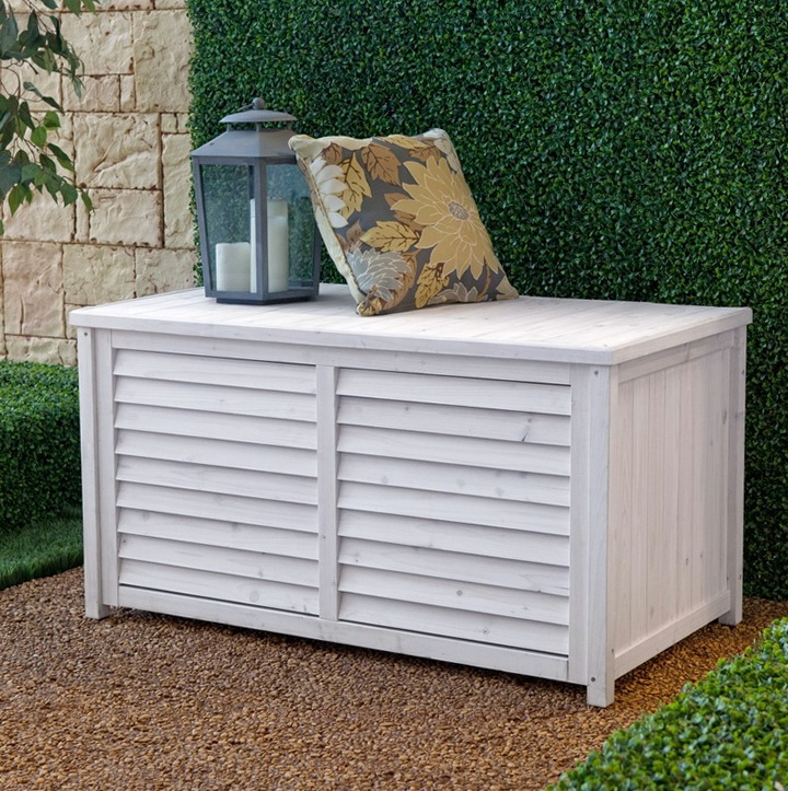 White Deck Box With Seat