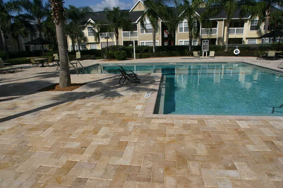 Acrylic Pool Deck Vs Pavers Home Design Ideas