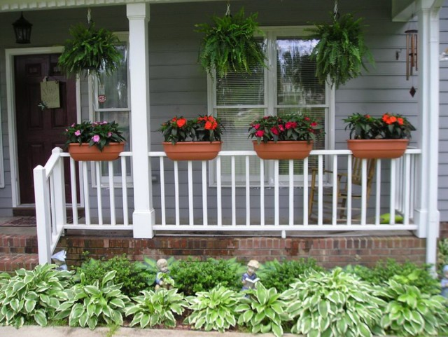 Deck Railing Planters White Home Design Ideas