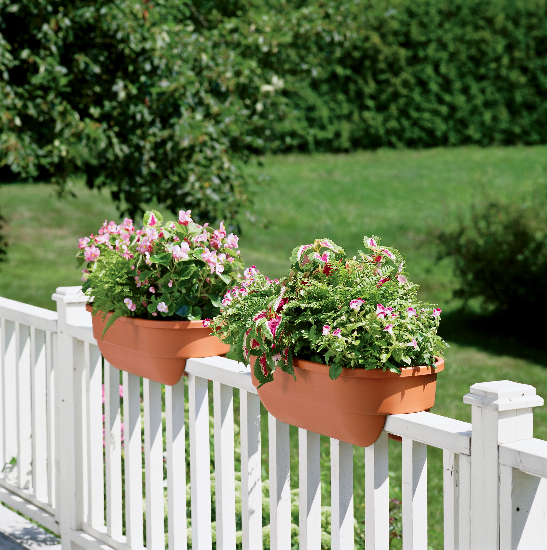 Modern Railing Planters Custom By Rushton: Deck Railing Planters White