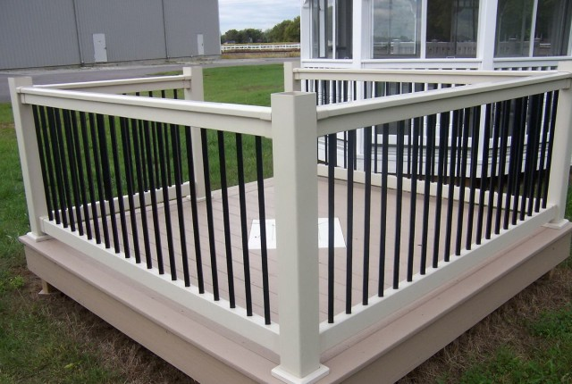White Deck Railing With Black Balusters
