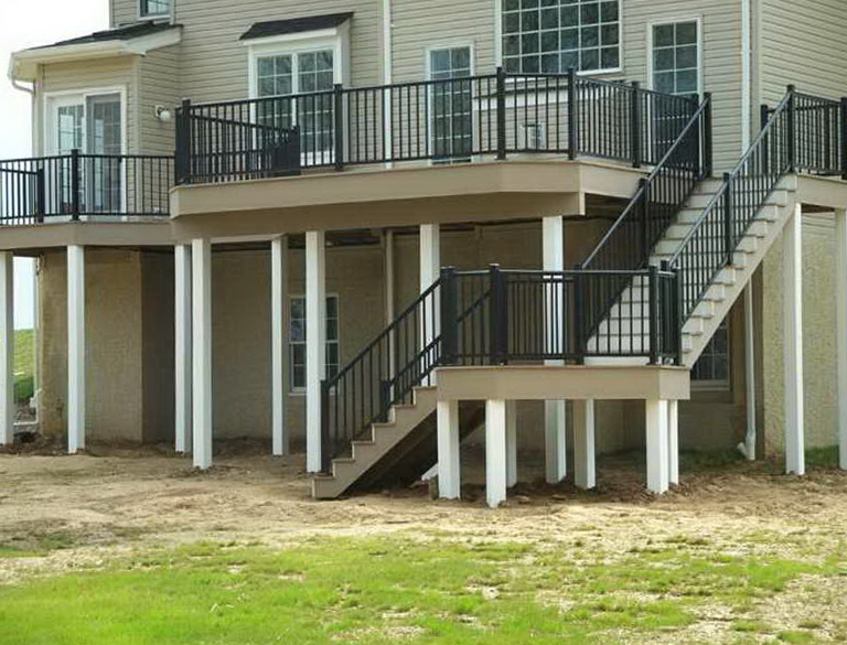 Build deck stairs with landing home design ideas - Home designer stairs with landing ...