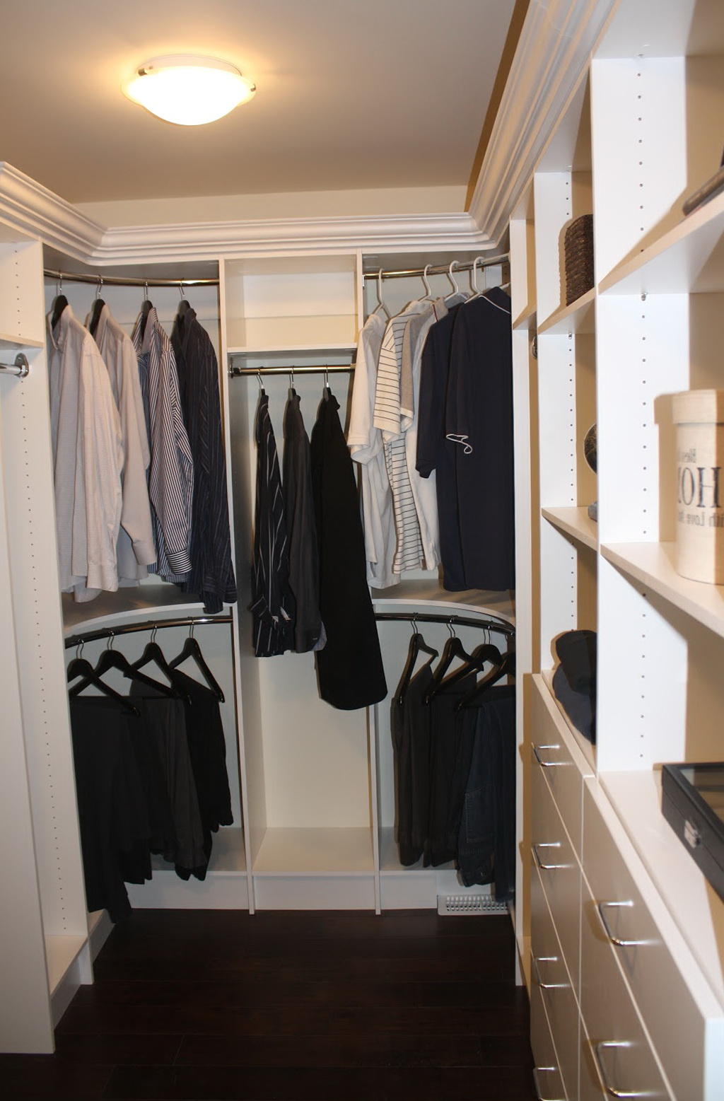 Curved Closet Rods Corners Home Design Ideas