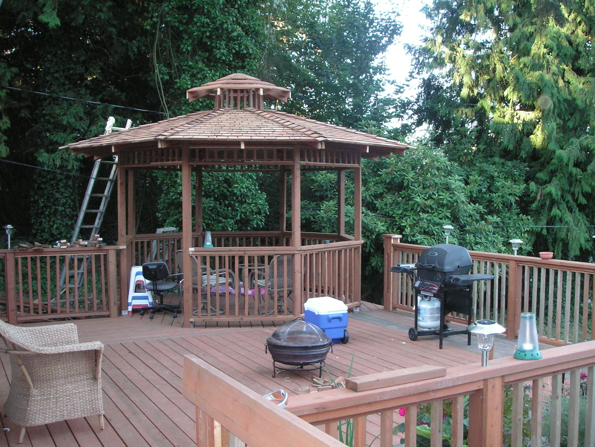 Gazebo on deck blocks home design ideas for House plans with gazebo porch