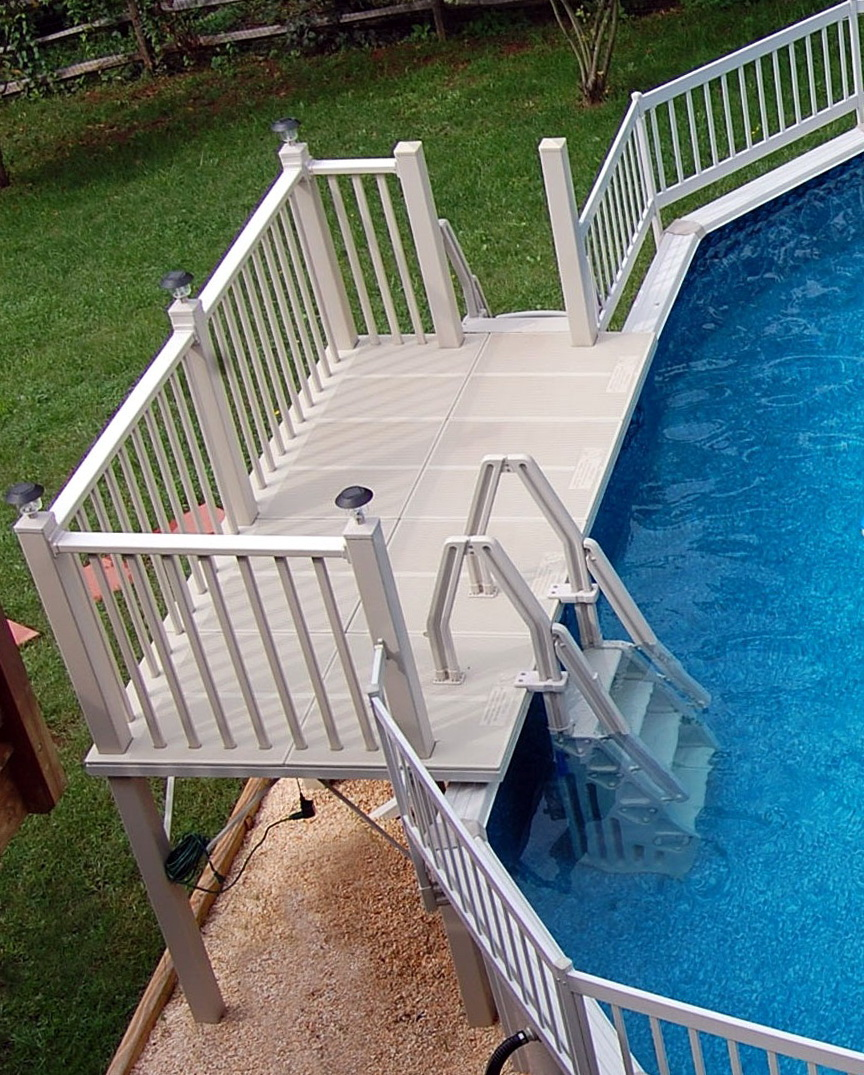 Pre built decks for above ground pools home design ideas for Ready made decking frame