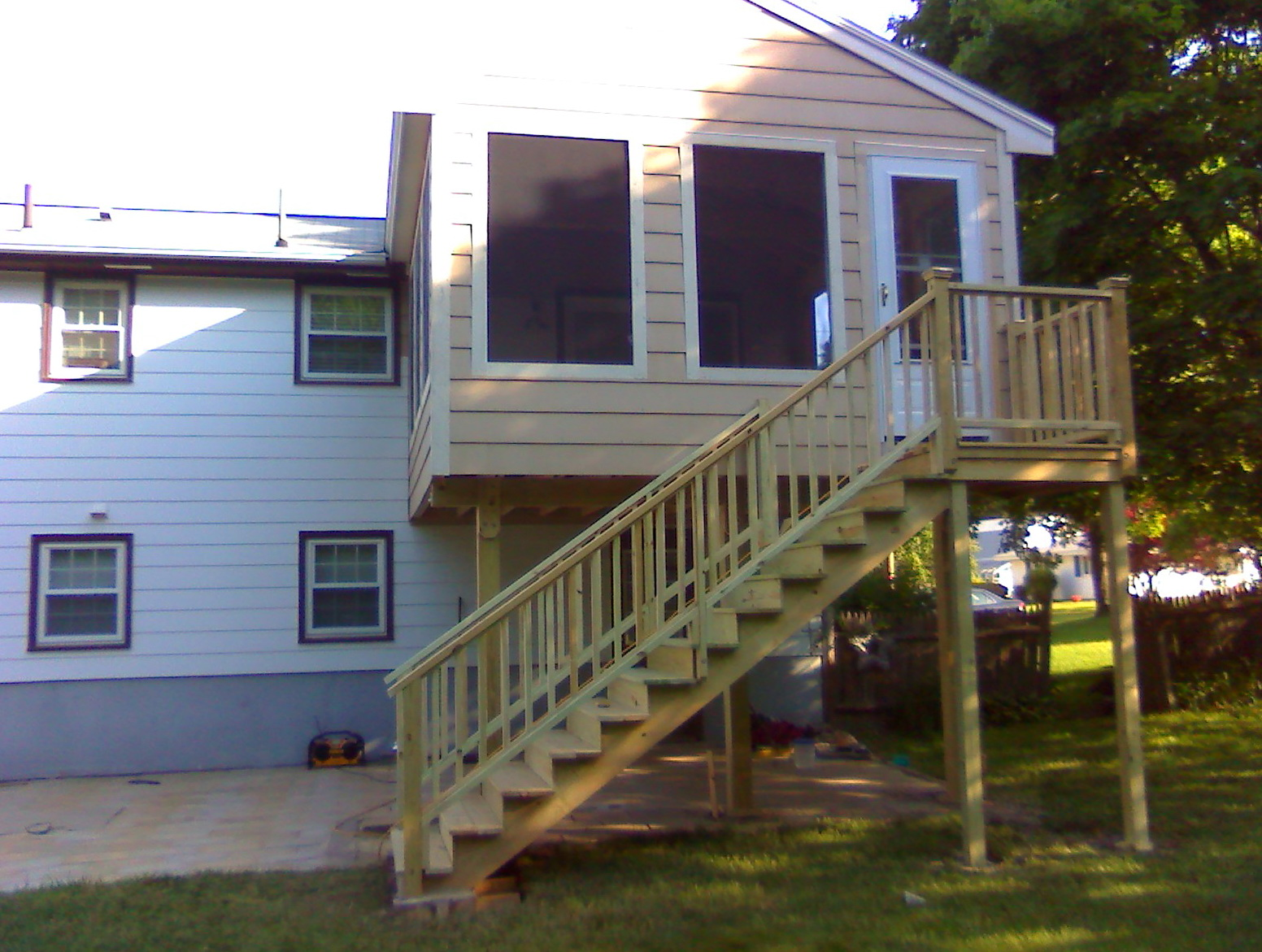 Second story decks with stairs home design ideas for Second story deck cost