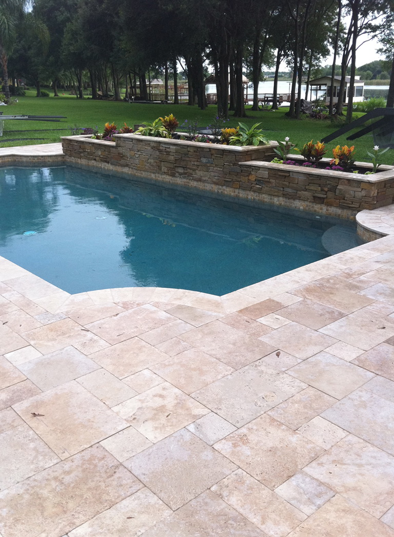 how to clean travertine pool deck
