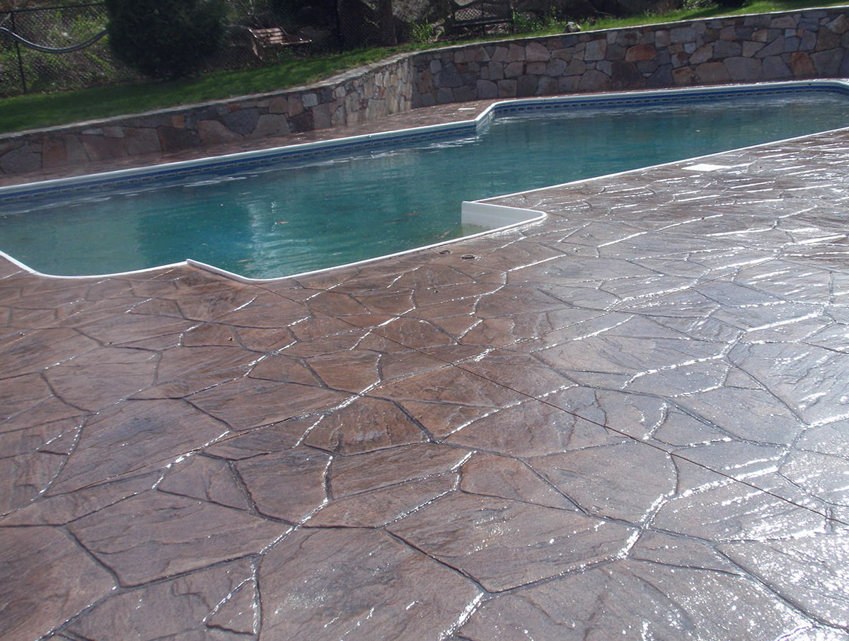 Stamped Concrete Pool Deck Cost Home Design Ideas