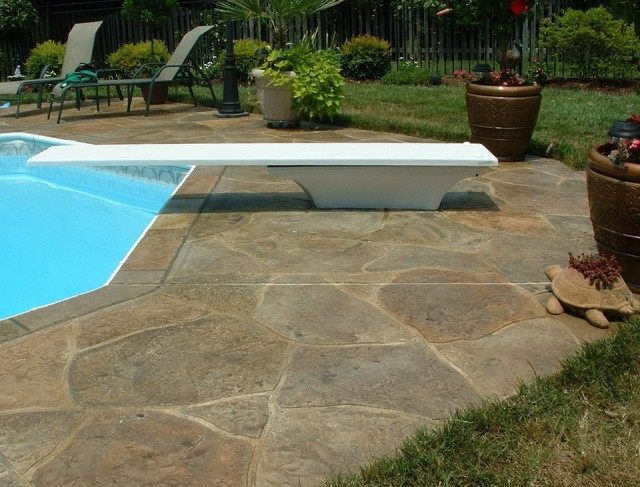 Pool Deck Pavers Vs Stamped Concrete Home Design Ideas