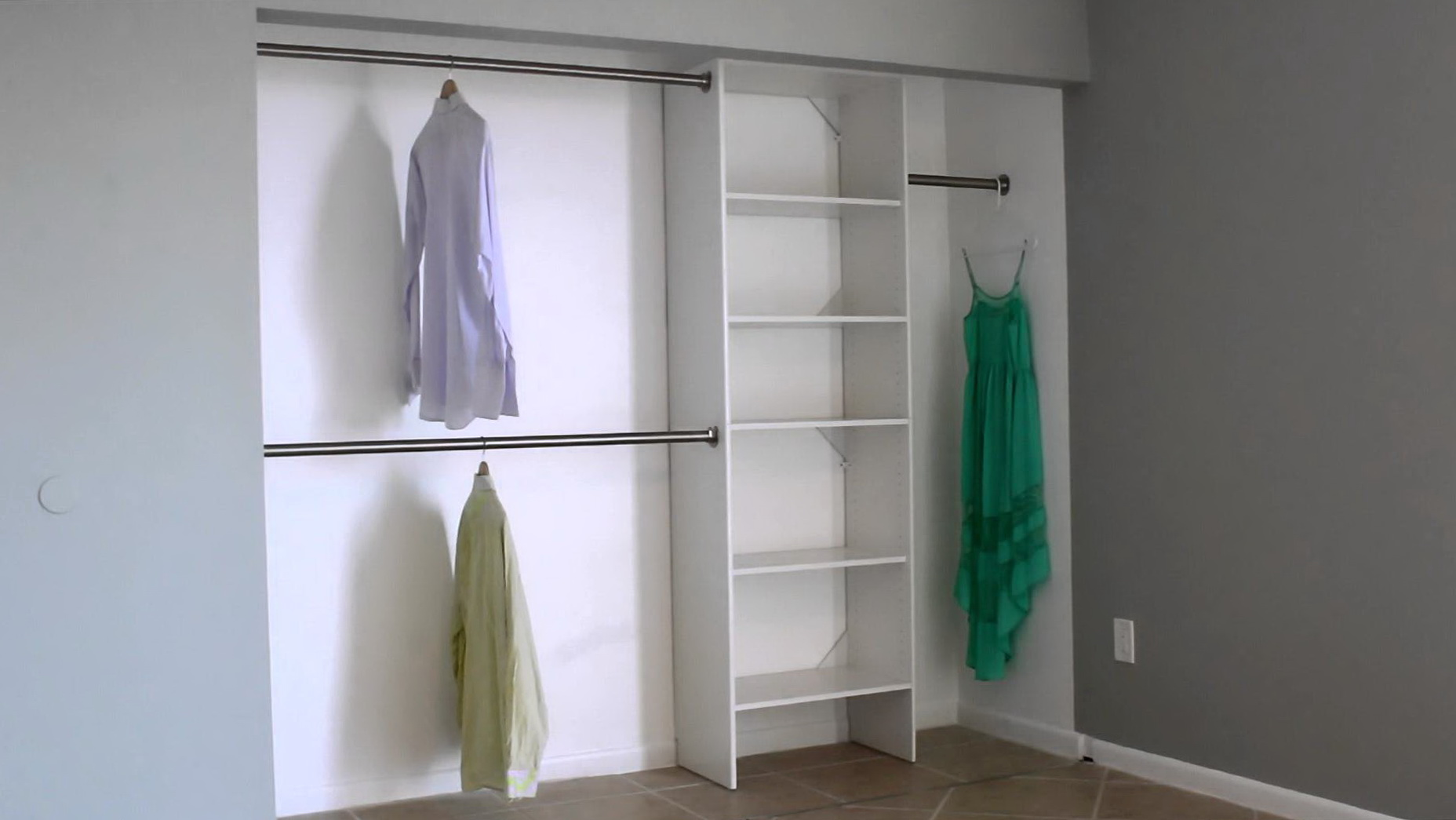 back wardrobe interior sliderobes watch closet rod movable rail youtube front hanging to