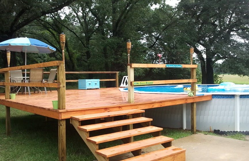 Decks for above ground pools prices home design ideas for Above ground pool decks cost