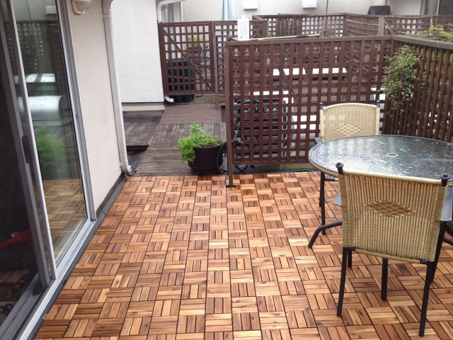 Backyard floor tiles