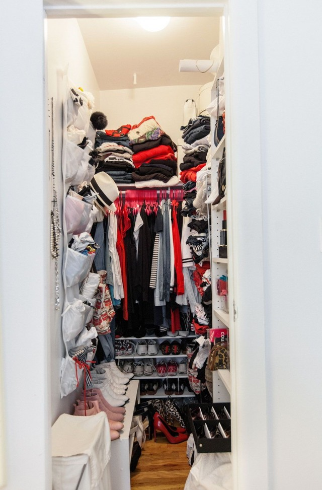 Narrow Walk In Closet Organization Ideas