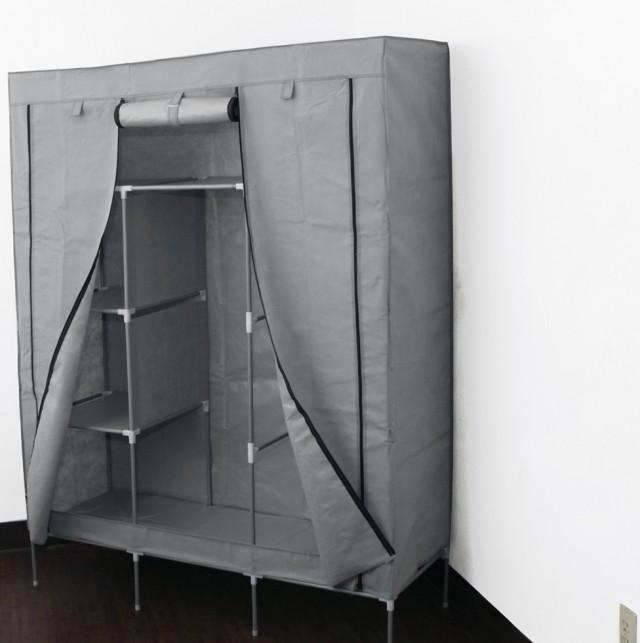Portable Closet Storage Organizer Wardrobe Clothes Rack With Shelves Grey