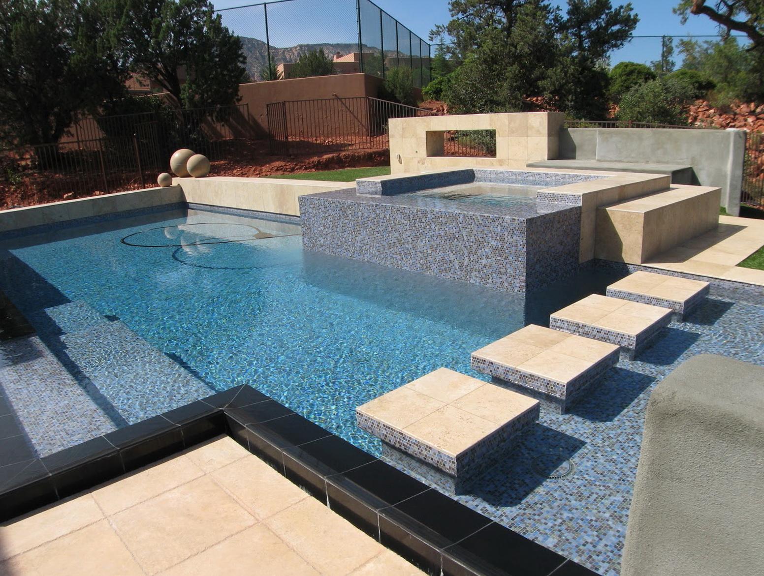Silver Travertine Pool Deck Home Design Ideas