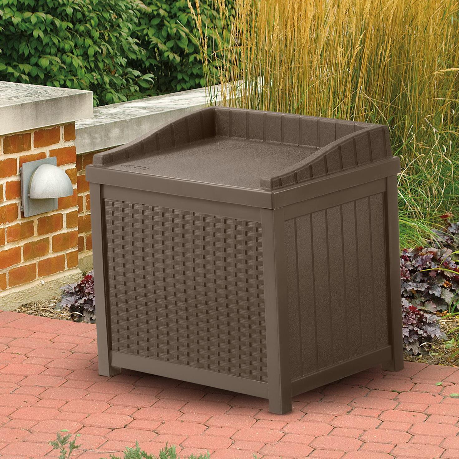 Suncast Resin Wicker Deck Box Storage Compartment