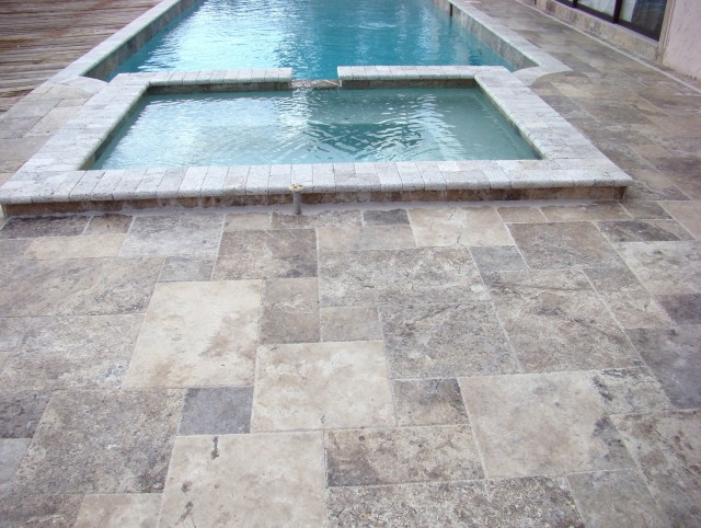 Travertine Pool Deck French Pattern