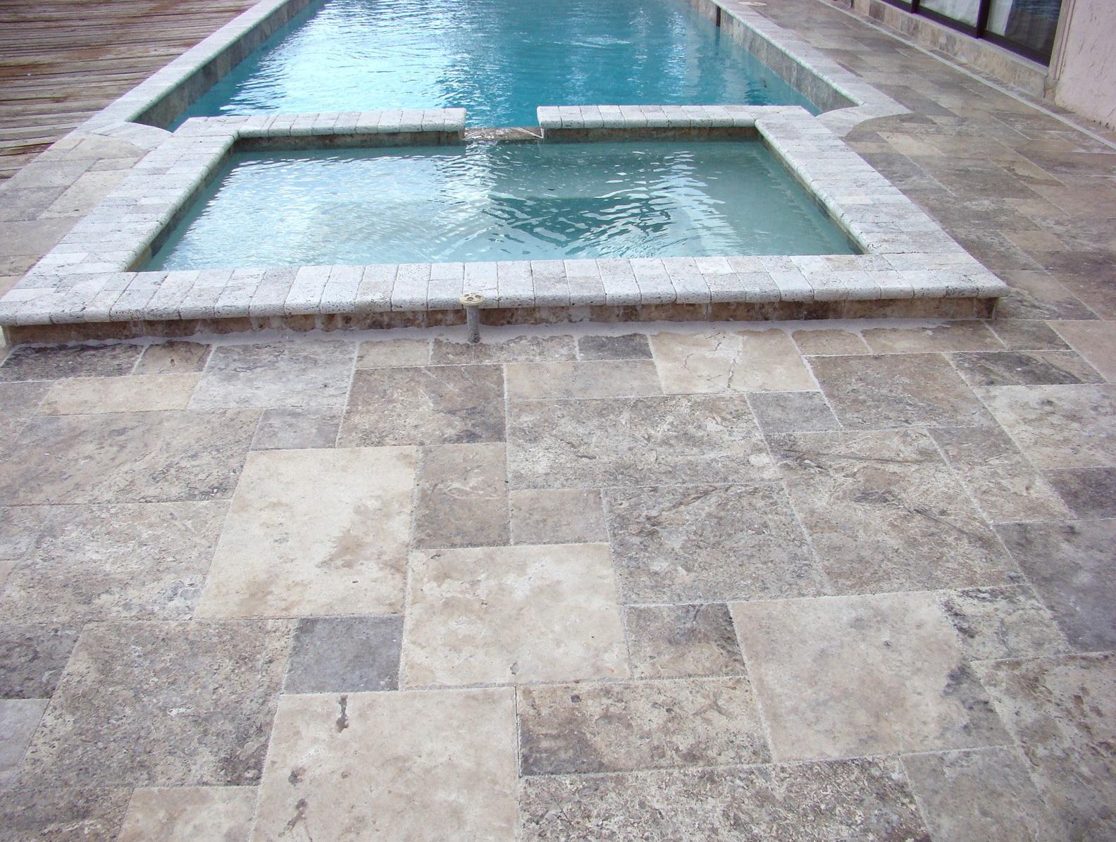 Travertine Pool Deck French Pattern