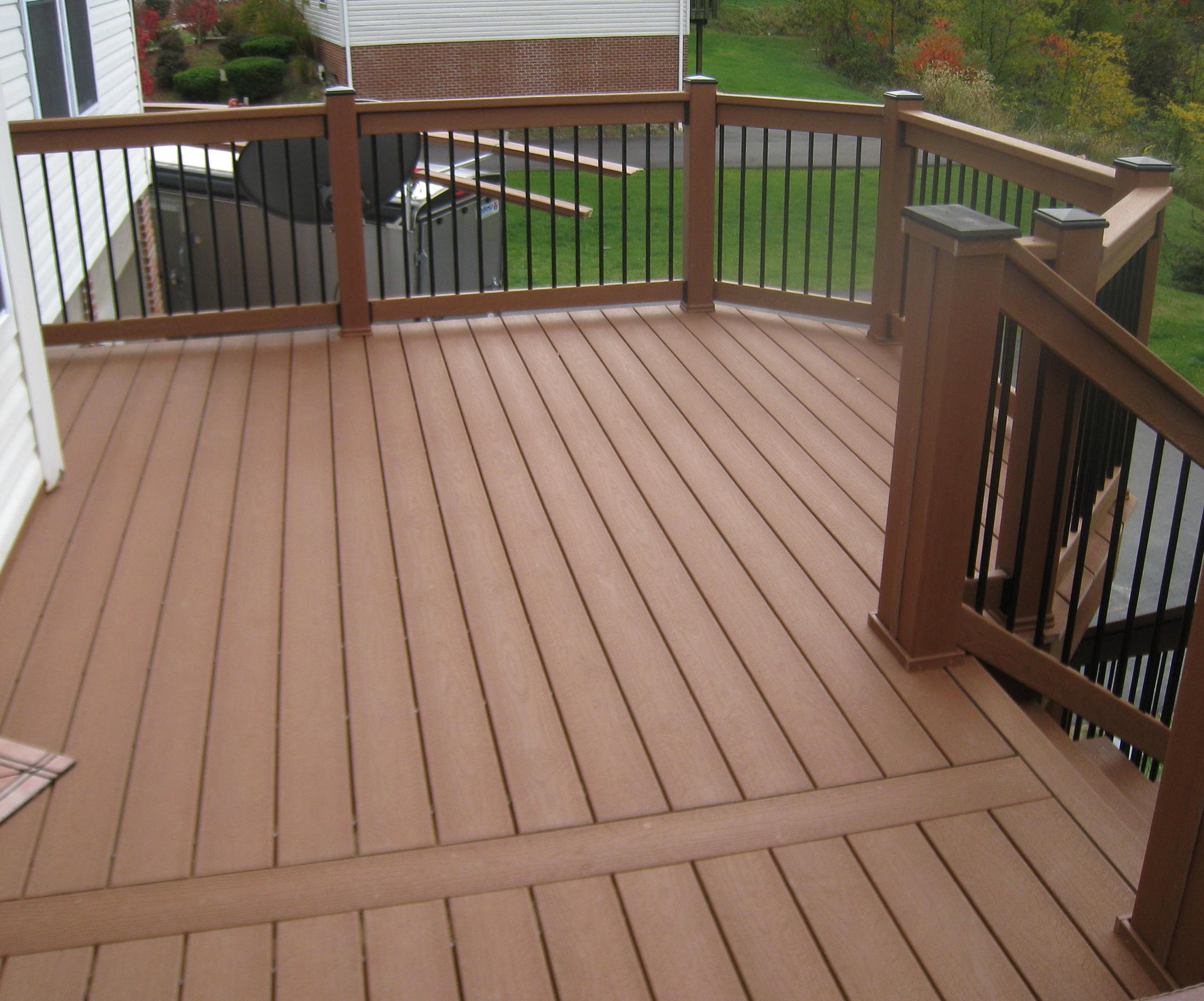 Wooden deck handrail designs home design ideas for Wood deck design plans