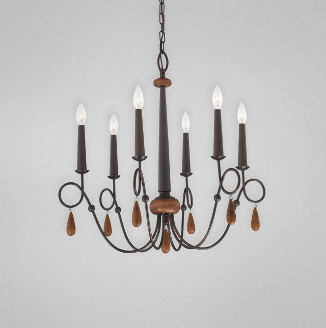 Antique Wood And Iron Chandelier
