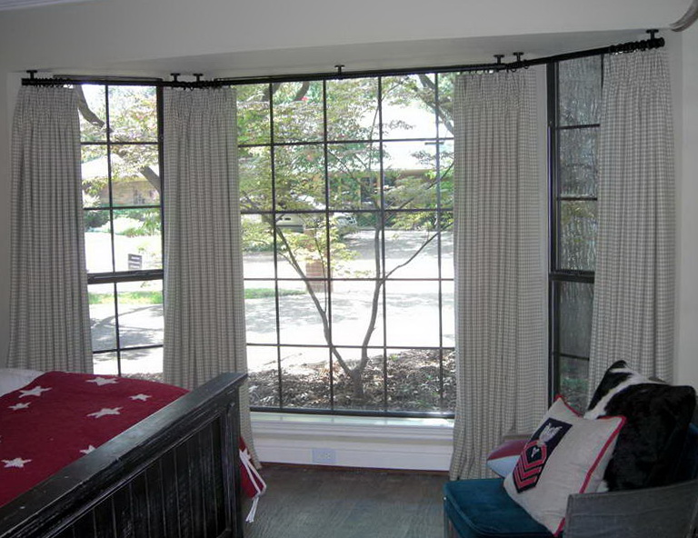 ceiling mounted curtain rail bay window