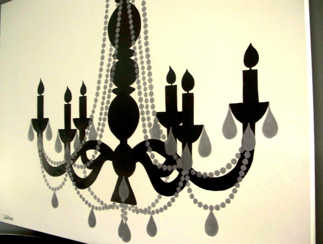 Black And White Chandelier Canvas