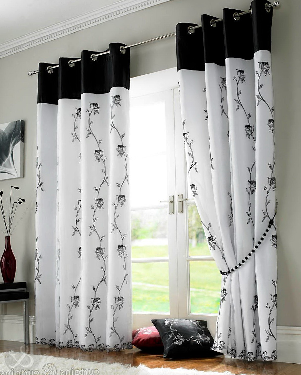 Black And White Curtains Design Home Ideas