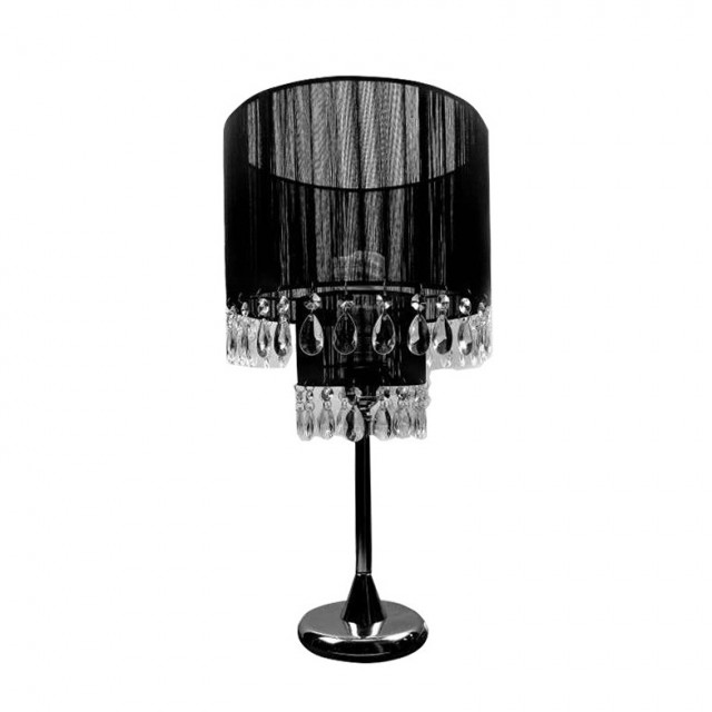 Black Crystal Chandelier Table Lamp