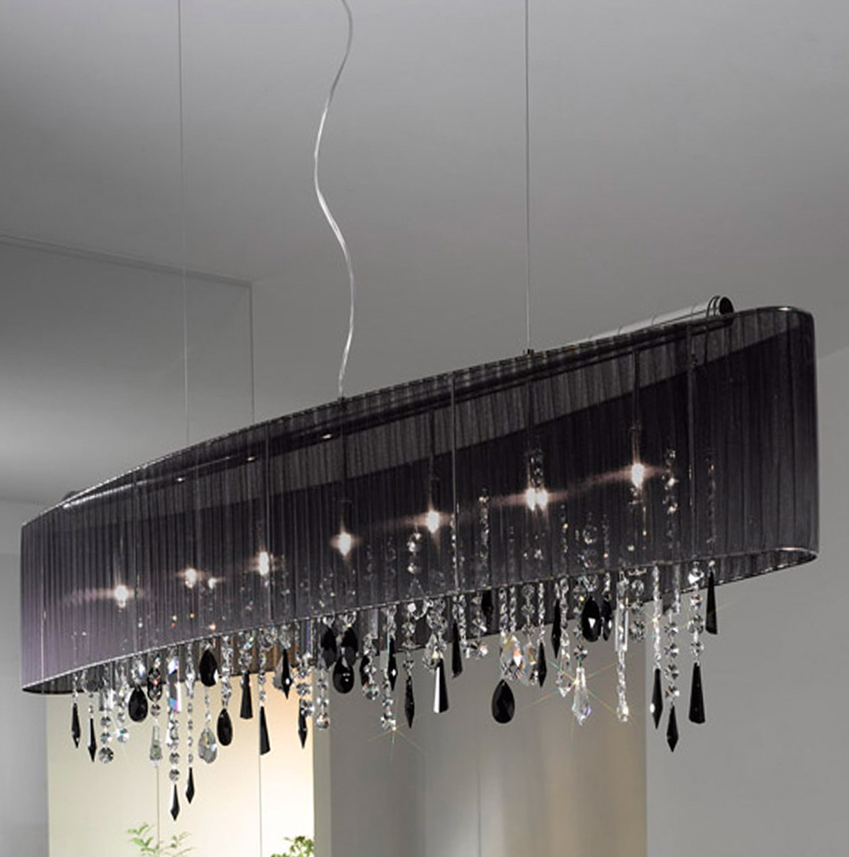 Black Drum Shade Crystal Chandelier
