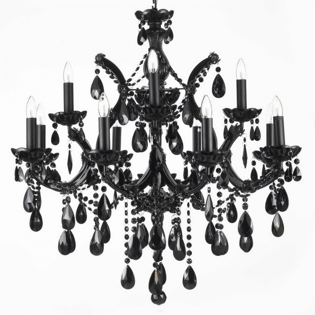 Black Iron And Crystal Chandelier