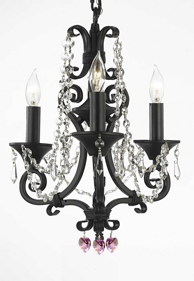 Black Wrought Iron Chandelier With Crystals
