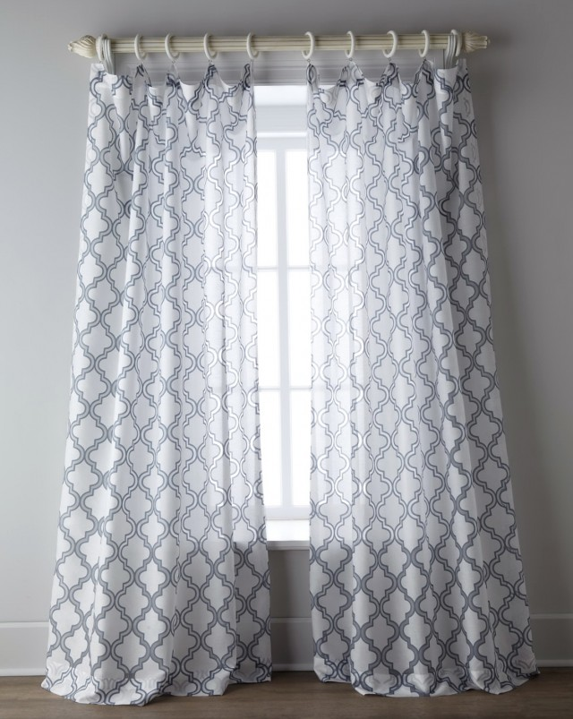 Blue Grey And White Curtains