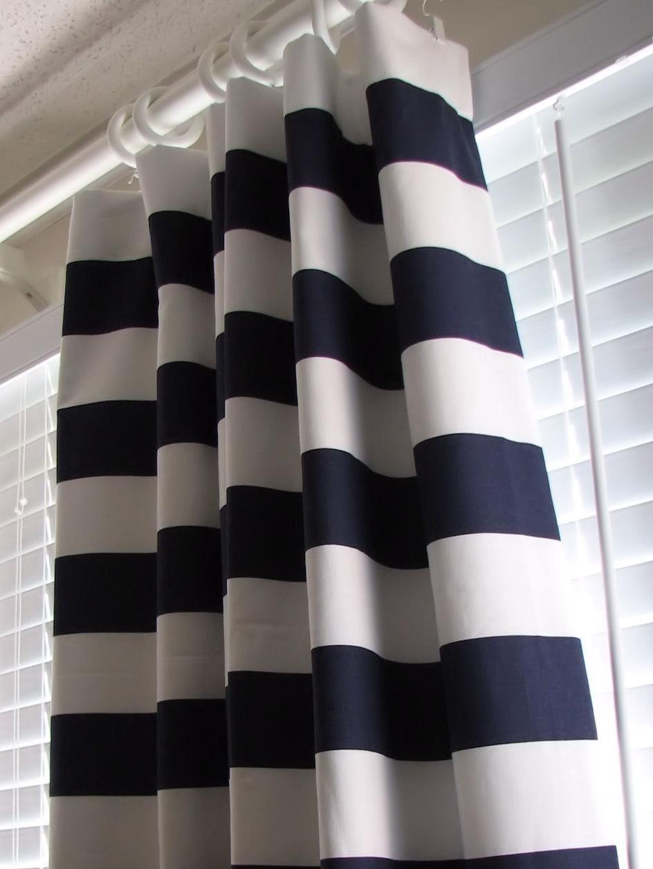 Blue Horizontal Striped Curtains