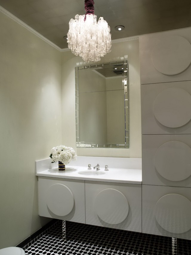 Chandelier In Small Bathroom