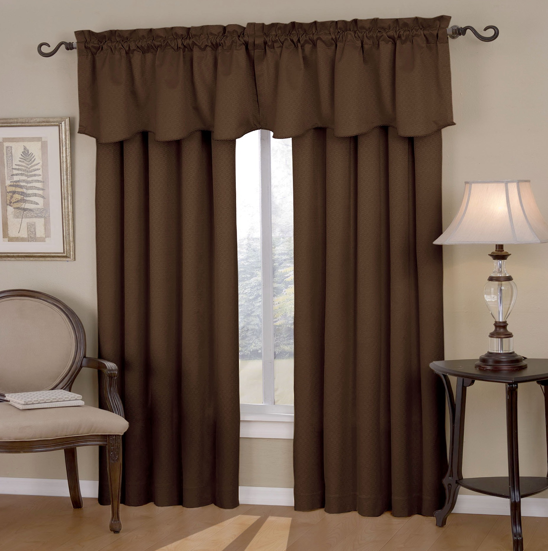 Color Block Curtains Brown