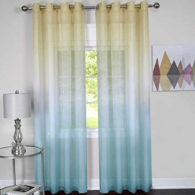 Color Block Grommet Curtains