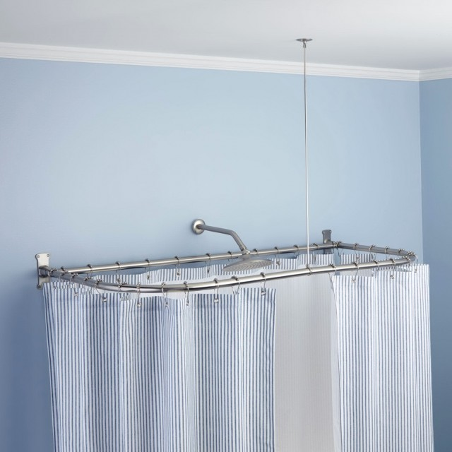 Curved Shower Curtain Rod For Corner Shower | Home Design Ideas