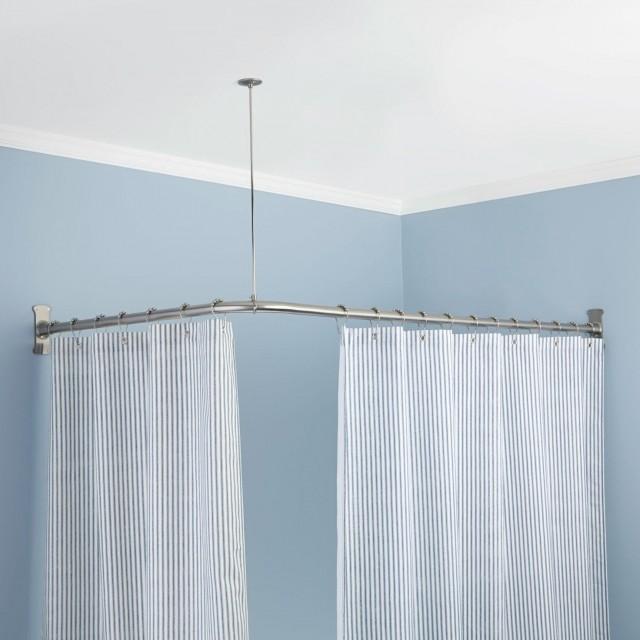 corner tub shower curtain rod