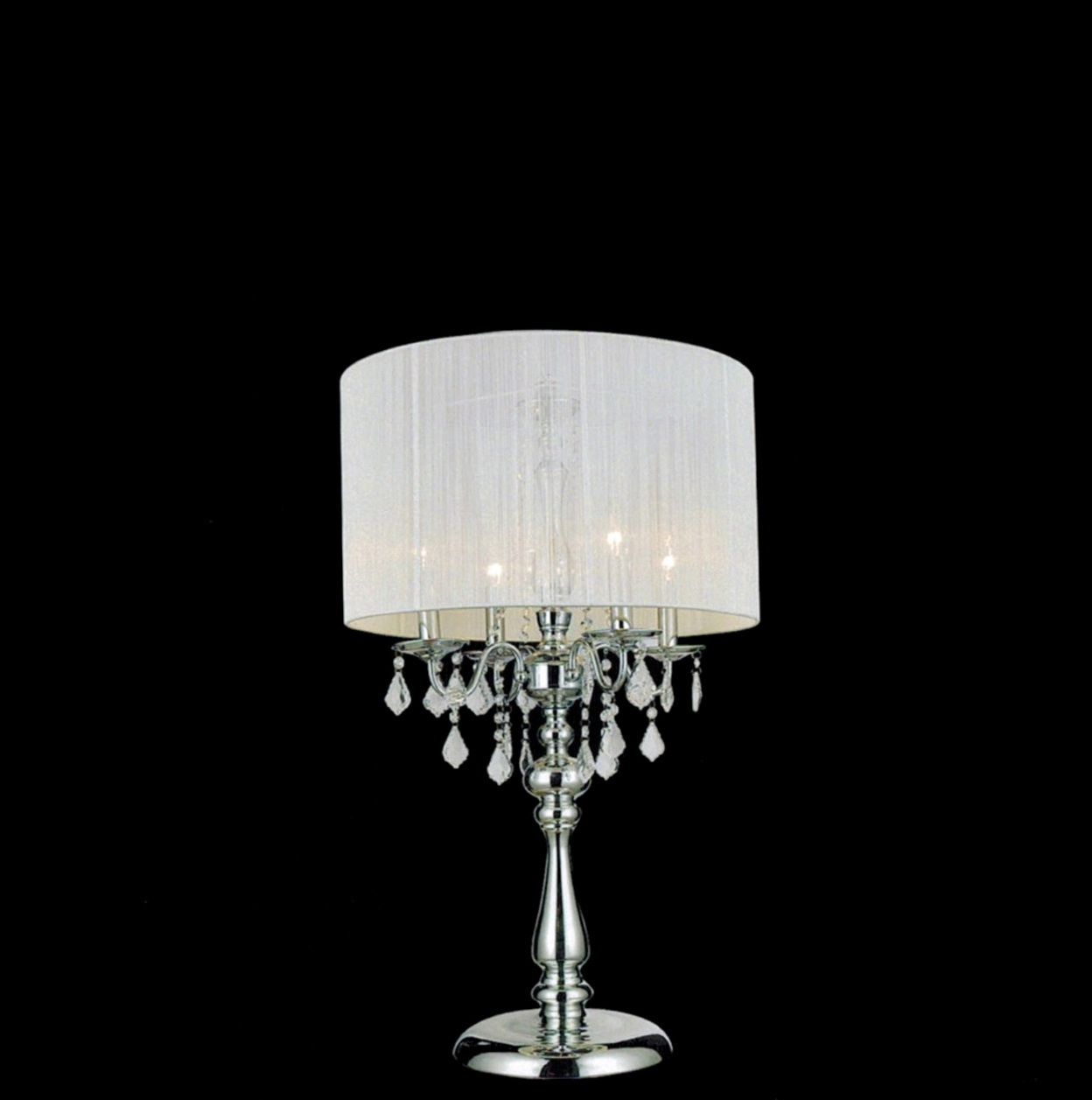 Crystal Chandelier Table Lamp With Drum Shade Home