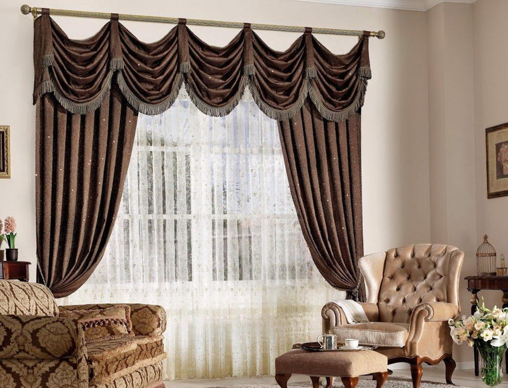 Attractive Curtains For Living Room With Brown Furniture