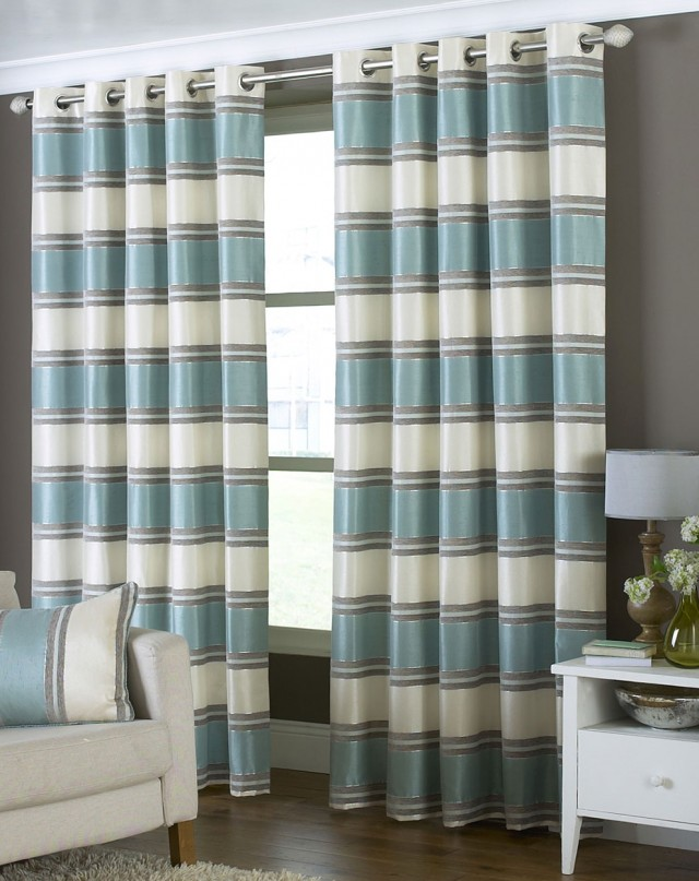 Duck Egg Blue And White Curtains