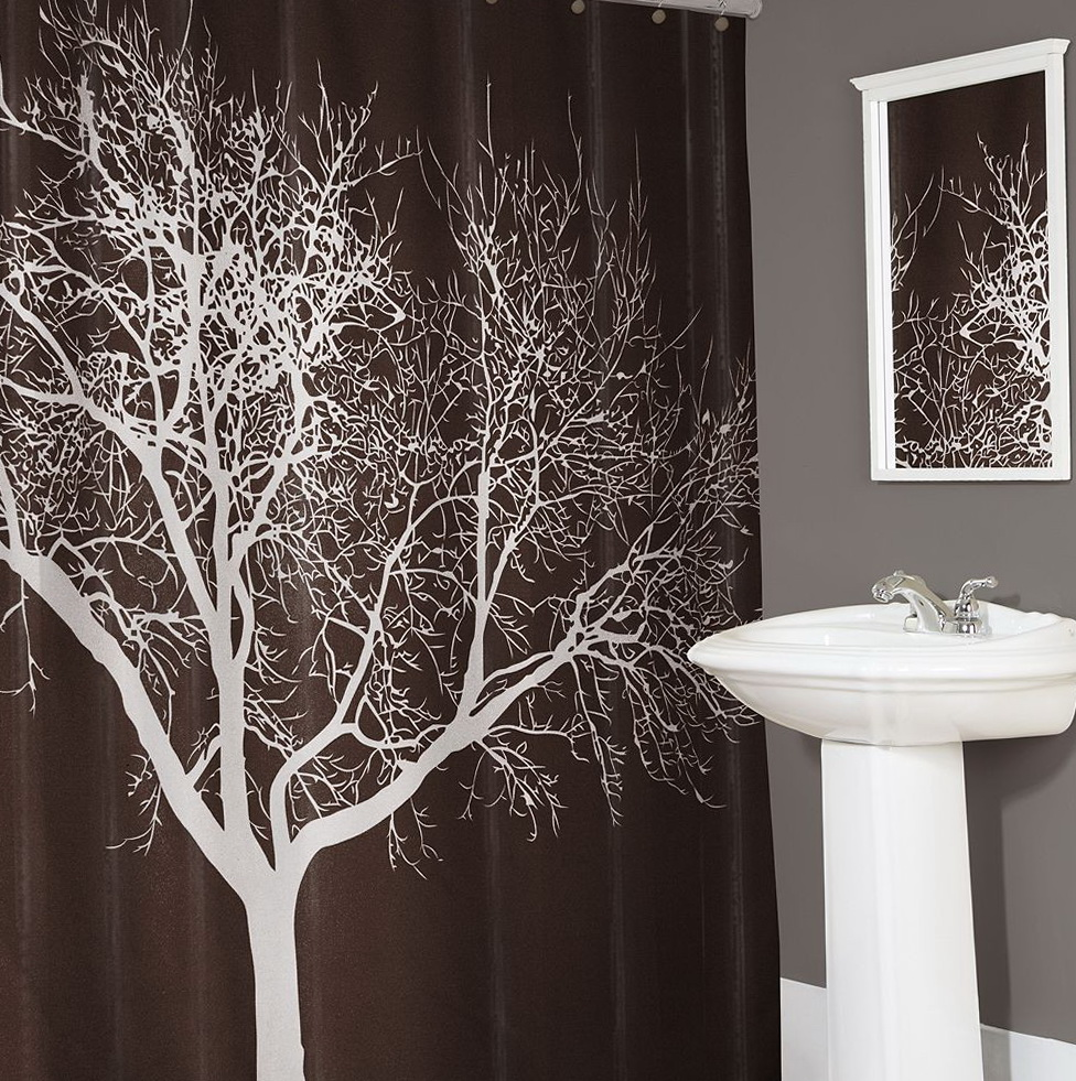 Fabric Shower Curtain Tree Home Design Ideas