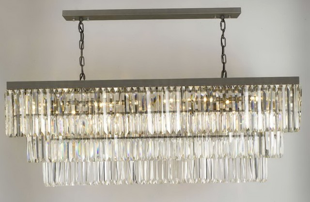 Glass Fringe Rectangular Chandelier