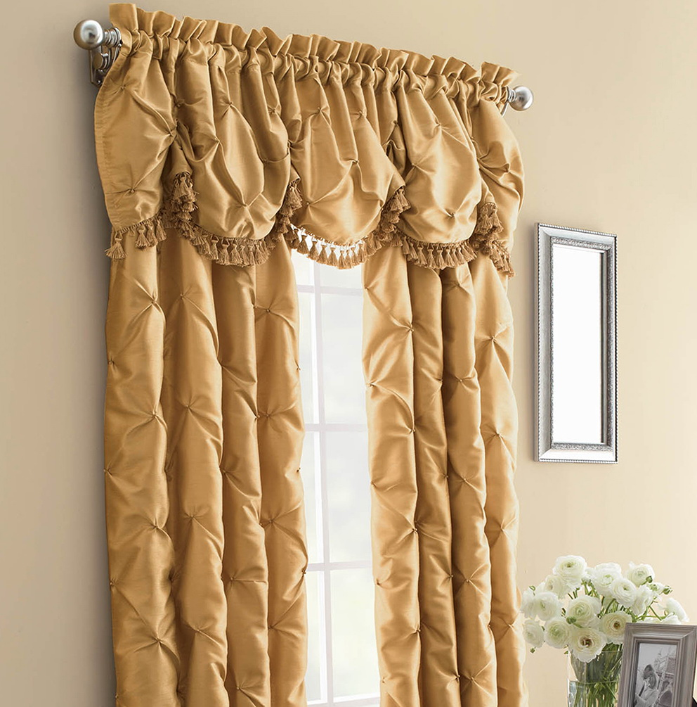 Gold Faux Silk Curtains