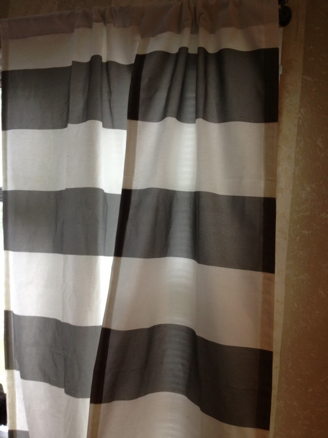 White and grey striped curtains