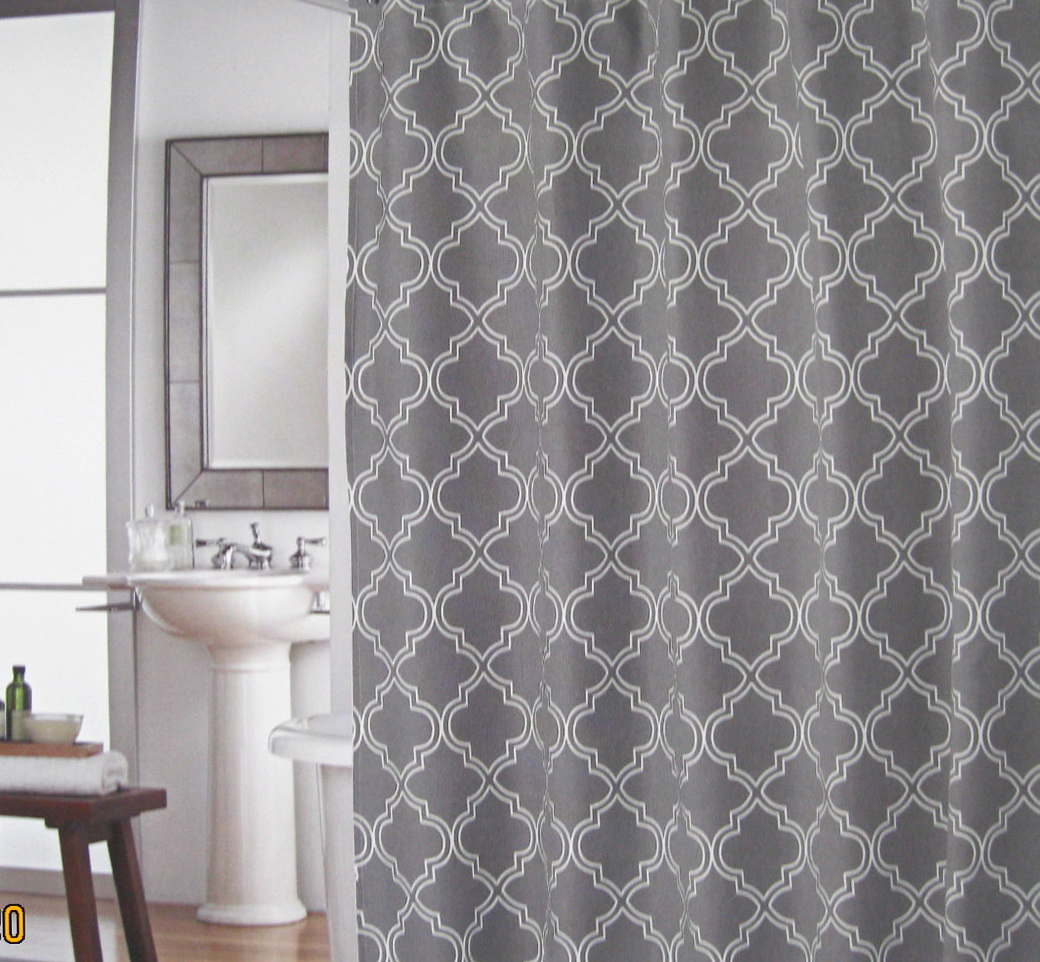 Gray And White Shower Curtains Home Design Ideas