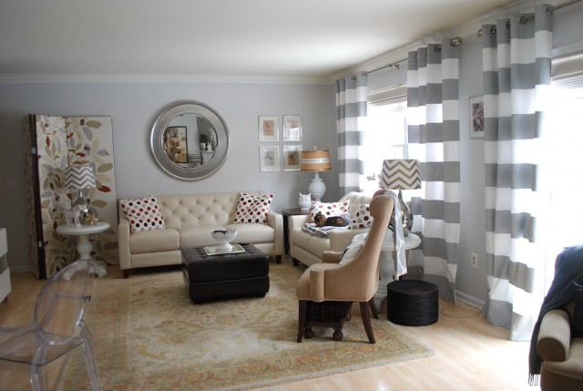 Gray And White Striped Curtains